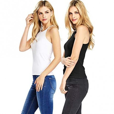Ambiance Apparel Women's High Neckline Tank Top or Tube Top 2 PK