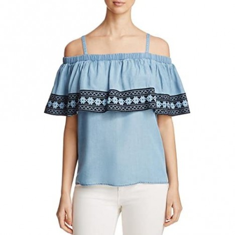 Bagatelle Womens Embroidered Popover Casual Top Blue L