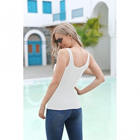 Deerludie & T Womens Scoop Neck Ribbed Tank Tops Low Cut Solid Sexy Summer Sleeveless Henley Tees Shirts