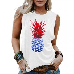 LAZYCHILD American Flag Pineapple Tank Tops Women 4th of July Graphic Tee Shirts Vacation Sleeveles Vest Tops