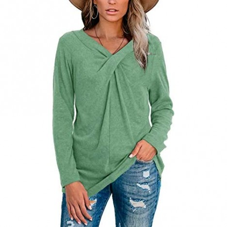 Women's Casual V Neck Twist Knot T Shirts Long Sleeve Loose Tunic Tops Blouse Shirt…