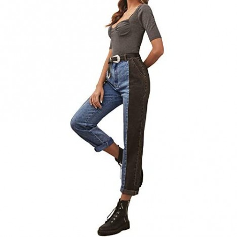AIMCOO Women's Colorblock Straight-Leg Jeans High Waist Rolled Stretch Denim Pants Casual Pull-On Boyfriend Jeans