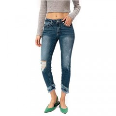 Kan Can Women's Mid Rise Ankle Skinny Jeans 13/30