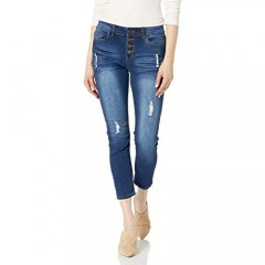 V.I.P.JEANS Women's Juniors Plus Size Ripped Slits Distressed High Waisted Exposed Buttons