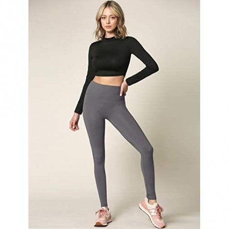 Active Queens Peached Seamless Front & Side High Waisted Leggings with Inner Pocket Full-Length Yoga Pants