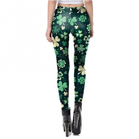 color cosplayer Women St. Patrick's Day Leegings Shamrock High Waisted Yoga Pants Clover Leaves Soft Tights