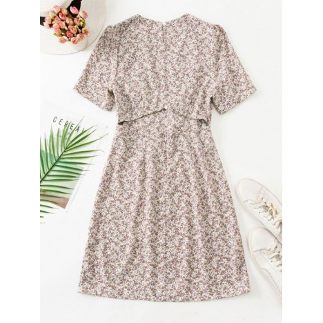 Ruched Empire Waist Ditsy Floral Mini Dress