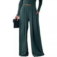 SySea Womens Wide Leg Palazzo Pants High Wiasted Ribbed Pleated Stretchy Lounge Trousers with Pockets Green