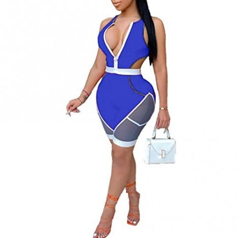 Ekaliy Women's Sexy Zip Up One Piece Outfits Deep V-Neck Sleeveless Bodycon Short Pants Party Club Jumpsuit Romper Playsuit