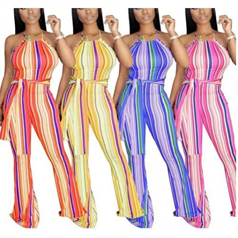 IyMoo Women's Sexy Jumpsuits - Halter Neck Backless Stripe Bodycon Bell-Bottoms Trouser Long Pants Romper