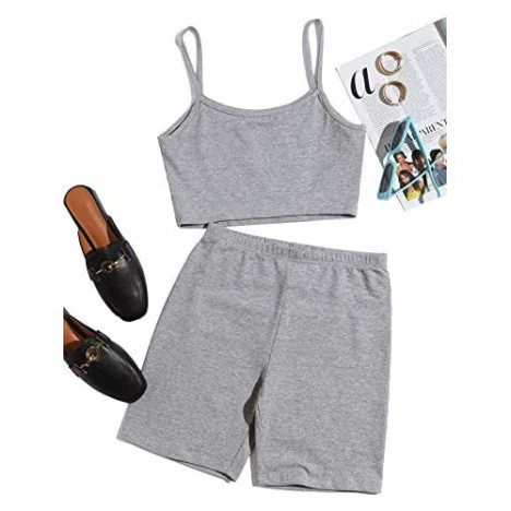 SheIn Women's Two Piece Spaghetti Strap Cropped Cami Top and Shorts Outfits Sets