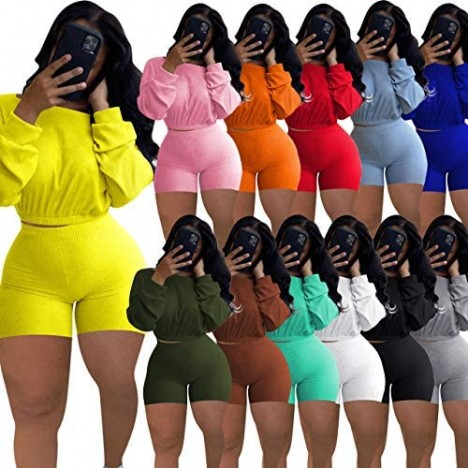Women Fall Ribbed 2 Piece Outfits Long Sleeve Pullover Crop Tops Bodycon Long Pants Set Sweatsuits Tracksuit