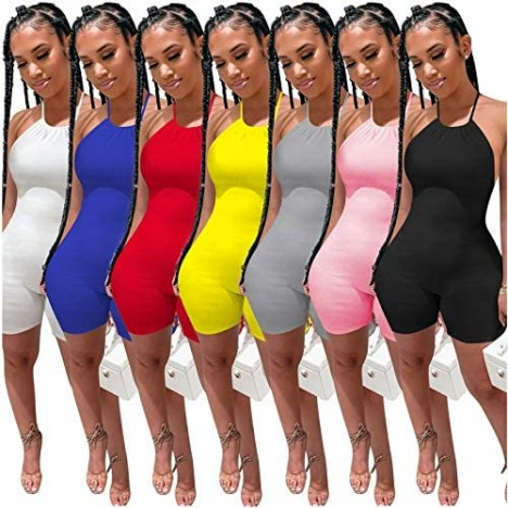 Women Sexy Bodycon Romper Solid Halter Sleeveless Backless One Piece Short Jumpsuit Outfits Clubwear