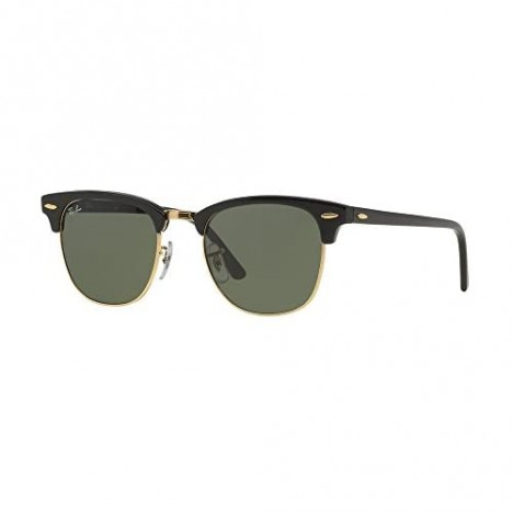 Ray Ban Clubmaster Sunglasses Black & Gold Frame w/Solid Black G15 49mm