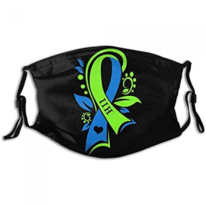 EUEYAIADS Imperfaces Iih Awareness Green Blue Ribbon Warrior Washable Reusable Replaceable Filter Adult Men and Women Dust Mask