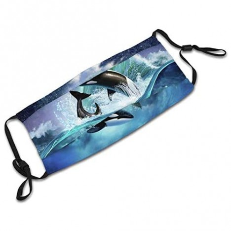 Floating Dolphins On A Sea Face Mask Scarf Reusable & Washable Adjustable Bandanas With 2 Filters For Anti Dust Outdoor