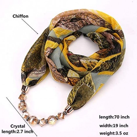GOGNGTR Vintage Ethnic Women's Scarf Crystal Bead Pendant Accessory Necklace Soft Infinity Scarves(sc005)