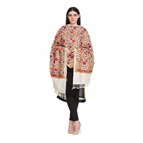 Kashmiri Embroidery Indian Shawl Stole Scarf Wrap for Wedding Parties Bridesmaid Prom (Off White 28 inch x 80 inch)