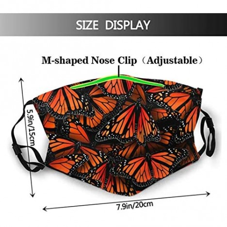 Monarch Butterflies Face Mask Balaclava Reusable Washable Adjustable Ear Loops Face Cover For Men & Women Outdoor Sports Working Hiking Running Skiing Walking Shopping