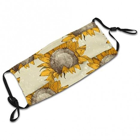 Vintage Sunflowers Face Mask Scarf Reusable & Washable Adjustable Bandanas With 2 Filters For Anti Dust Outdoor