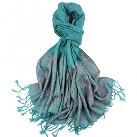 Women's Silky Soft Paisley Pattern Pashmina Scarf Shawls and Wraps Lightweight Scarves