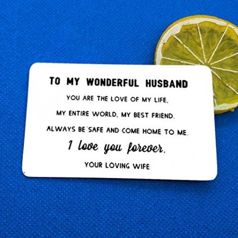 Baixian Engraved Wallet Insert Card for Husband Anniversary Gifts from Wife I Love You Wallet Card for Men Valentines for Husband Christmas Birthday Gifts for Husband Him Always be safe and come home to me Silver