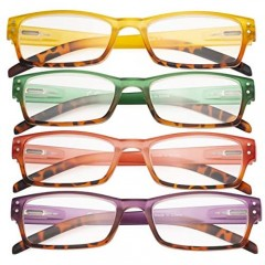CessBlu Ladies Variety Colors Reading Glasses 4 Pack with Spring Hinge for Women Reading