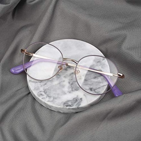 Classic Vintage Round Metal Optical Eyeglasses Frame for Women with Clear Lens