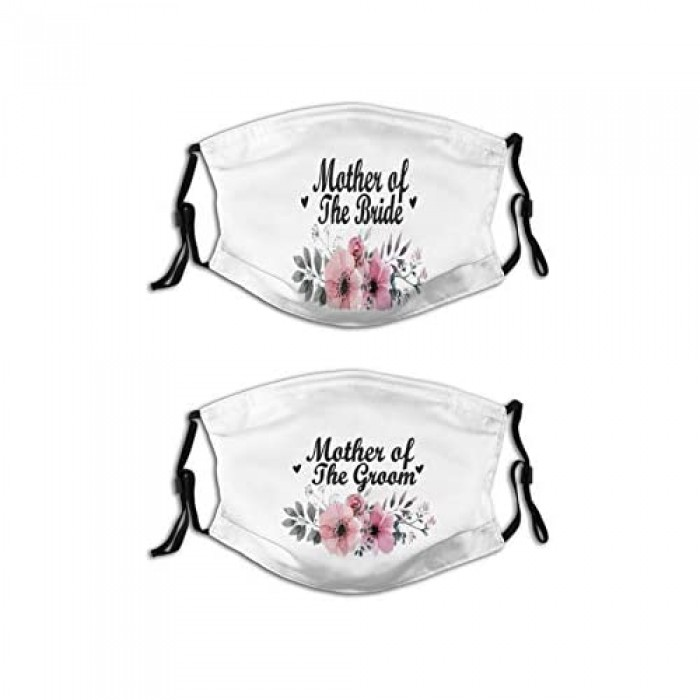 2 Pcs Wedding Couple Face Mask Fashion Mother of The Bride Masks Reusable Balaclava with 4 Filters