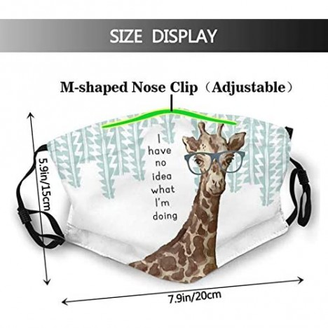 Giraffe Face Mask Scarf Washable Reusable - Fashion Balaclava With 2 Pcs Filters For Adult Women Men & Teens