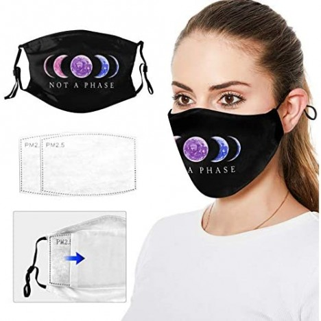 Not A Phase Bisexual Pride LGBT Anti Dust Mouth Pretect Face Scarf Bandanas Neck Gaiter with Filter Washable and Reusable