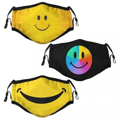 Smiley Face Mask Unisex Dust Mouth Cover Face Cover Washable and Reusable 3pcs with 6 Filters for Adult Women Men and Teens