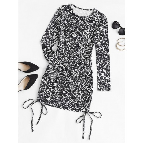 Leopard Cinched Side Bodycon Dress