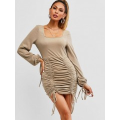 ZAFUL Ribbed Cinched Tie Ruched Bodycon Mini Dress