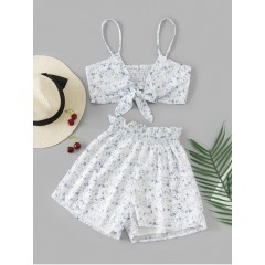 Leaves Knotted Cami Two Piece Suit