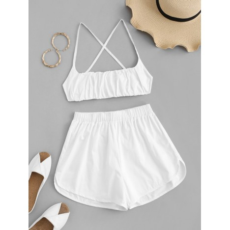 Ruched Cross Drawstring Two Piece Shorts Set