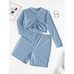 Ruched Front Ribbed Cropped Two Piece Set