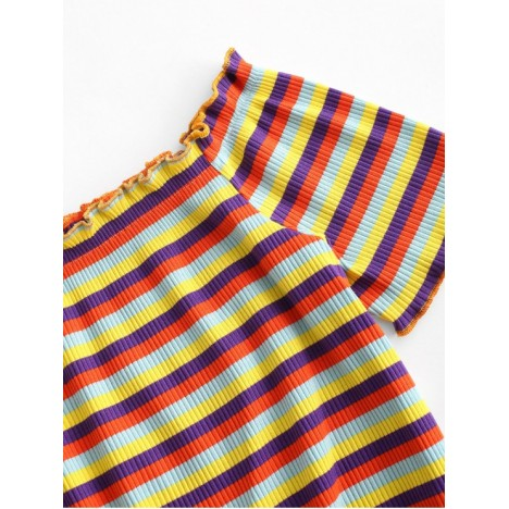 ZAFUL Colorful Stripes Ribbed Off Shoulder Two Piece Set