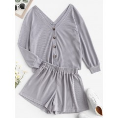 ZAFUL Comfy Lounge Textured Button Up Two Piece Set
