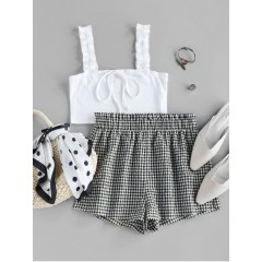 ZAFUL Ribbed Crop Top and Checked Shorts Two Piece Set