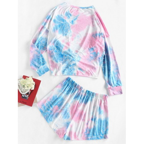 ZAFUL Tie Dye Tee and Shorts Two Piece Set