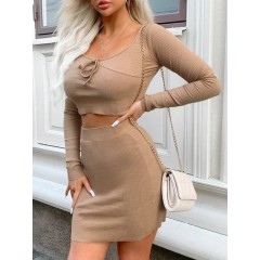 Ribbed Tie Long Sleeve Two Piece Skirt Set