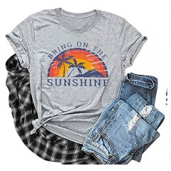 Bring On The Sunshine T-Shirts Women Funny Rainbow Graphic Tees Letter Print Casual Short Sleeve Tops