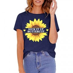 GAMISOTE Womens Sunflower Graphic Tees Letter Print Short Sleeve O Neck Casual T Shirts Top