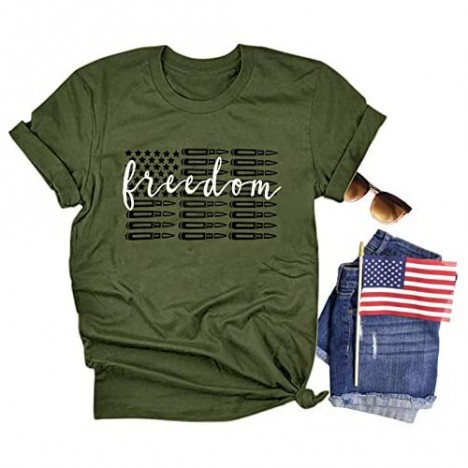 JCDZSW Women Freedom Shirts AmericanFlag 4th of July Patriotic Shirts for Women Independence Day Tee