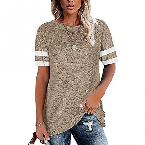 SENLIYA Short Sleeve Tunic for Womens Summer Crew Neck Shirt Casual Loose Fit Tops Blouses T-shirts