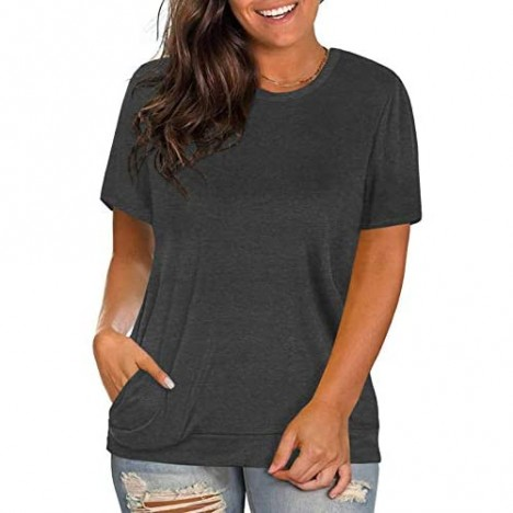 Womens Plus Size Tops Casual Solid Color T-Shirt Round Neck Blouse Tunics with Pockets