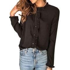 Dokotoo Women Long Sleeve Collared Button Down Ruffled Work Tops and Blouses Shirts