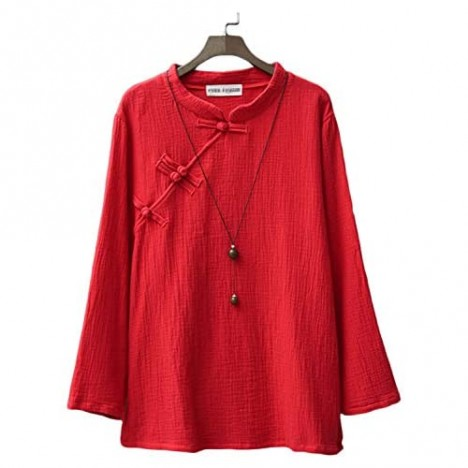 Women's T-Shirt Chinese Style Linen Top Blouses with Split Sides